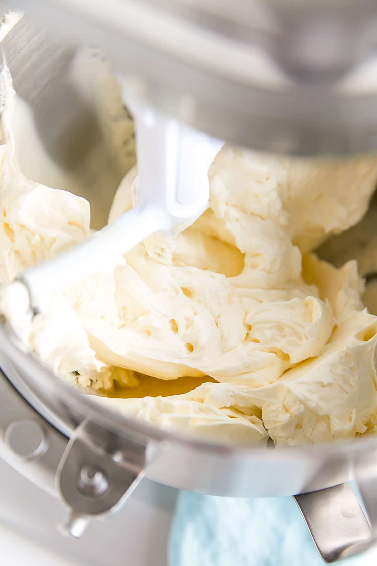 Whipped butter shown inside the stand mixer.