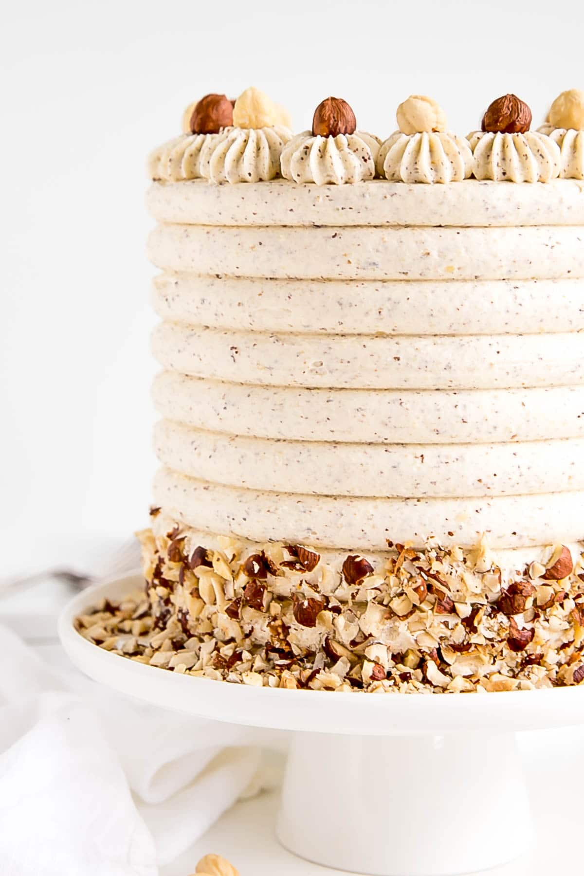 Close up of the side of the cake showing cake combed detail.