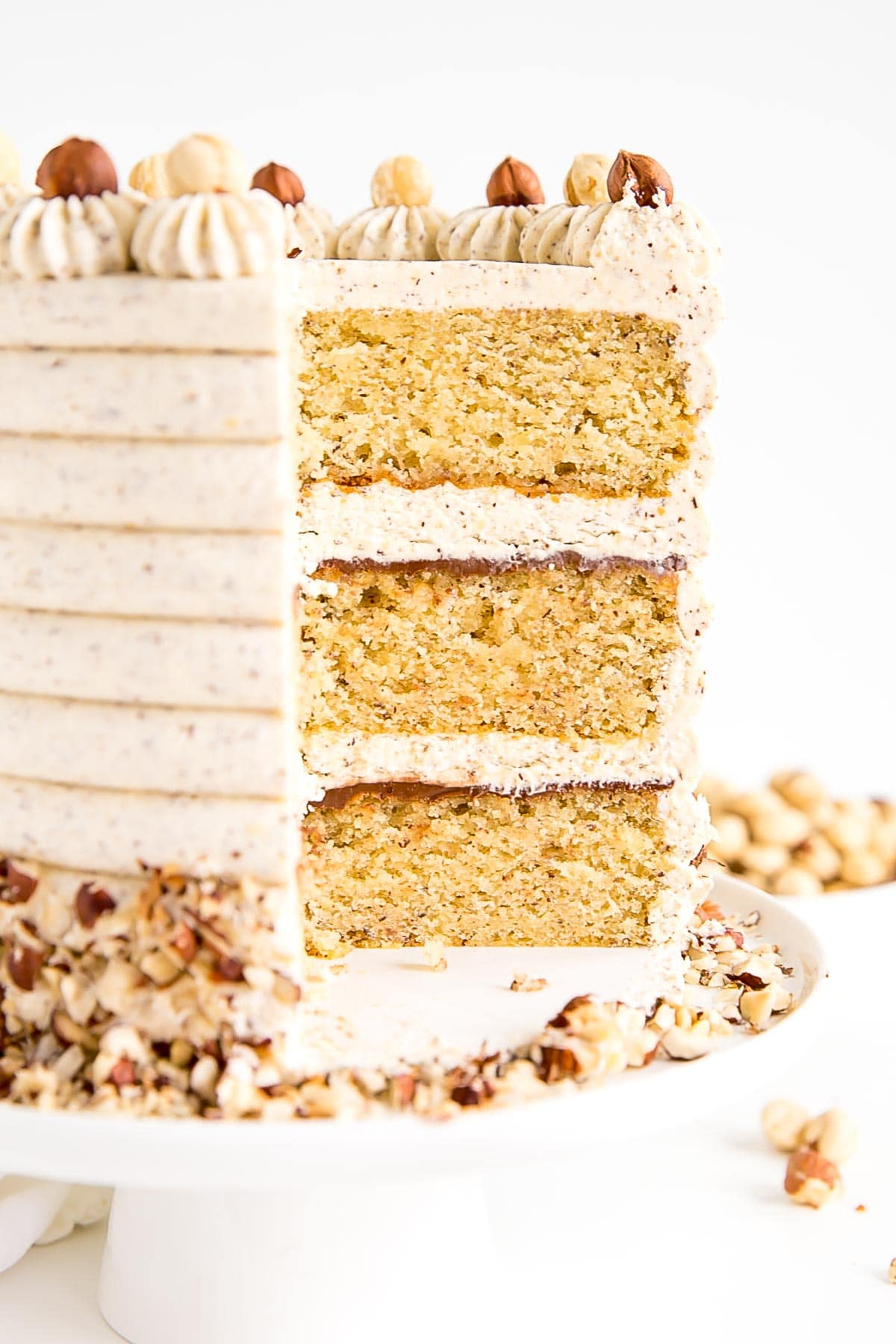 Cross-section of the cake showing the cake layers.