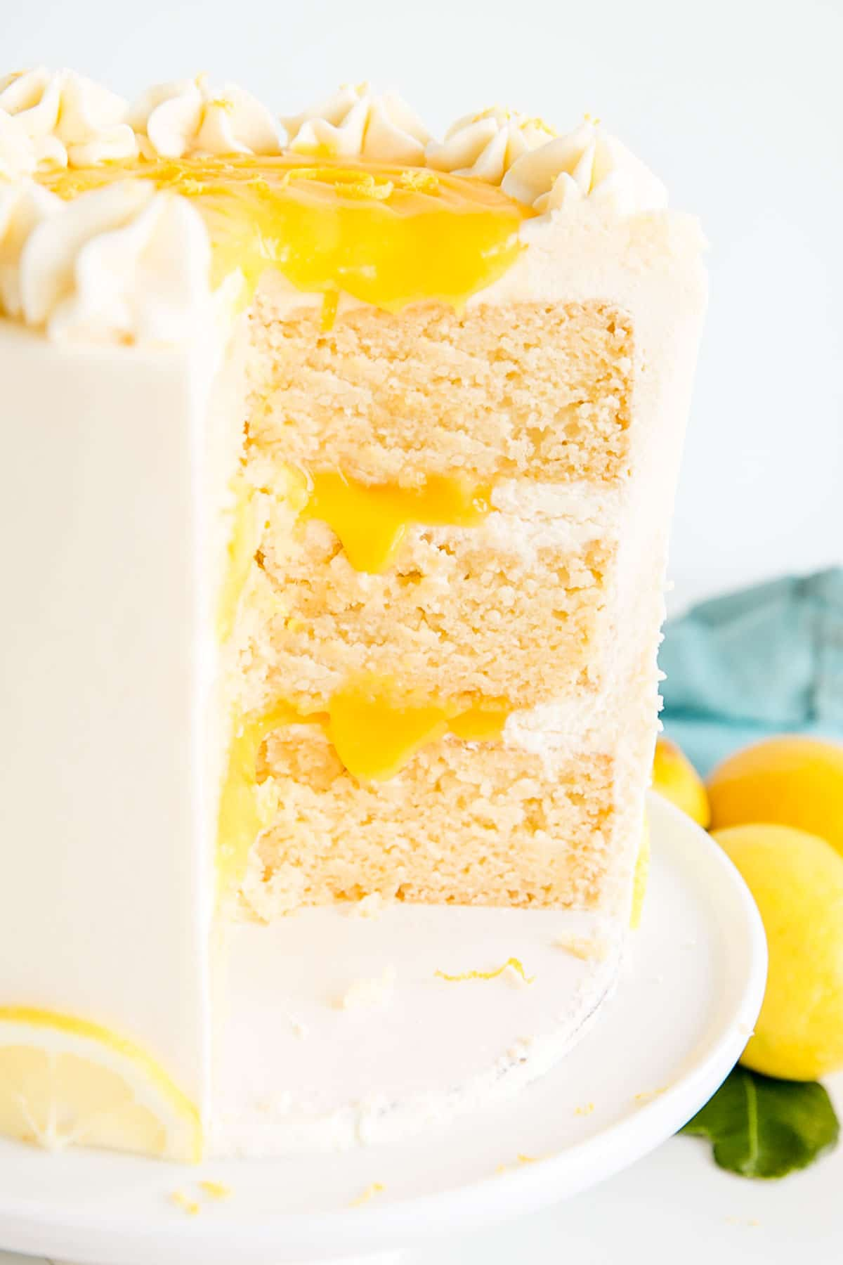 Cross section of the cake showing the lemon curd filling
