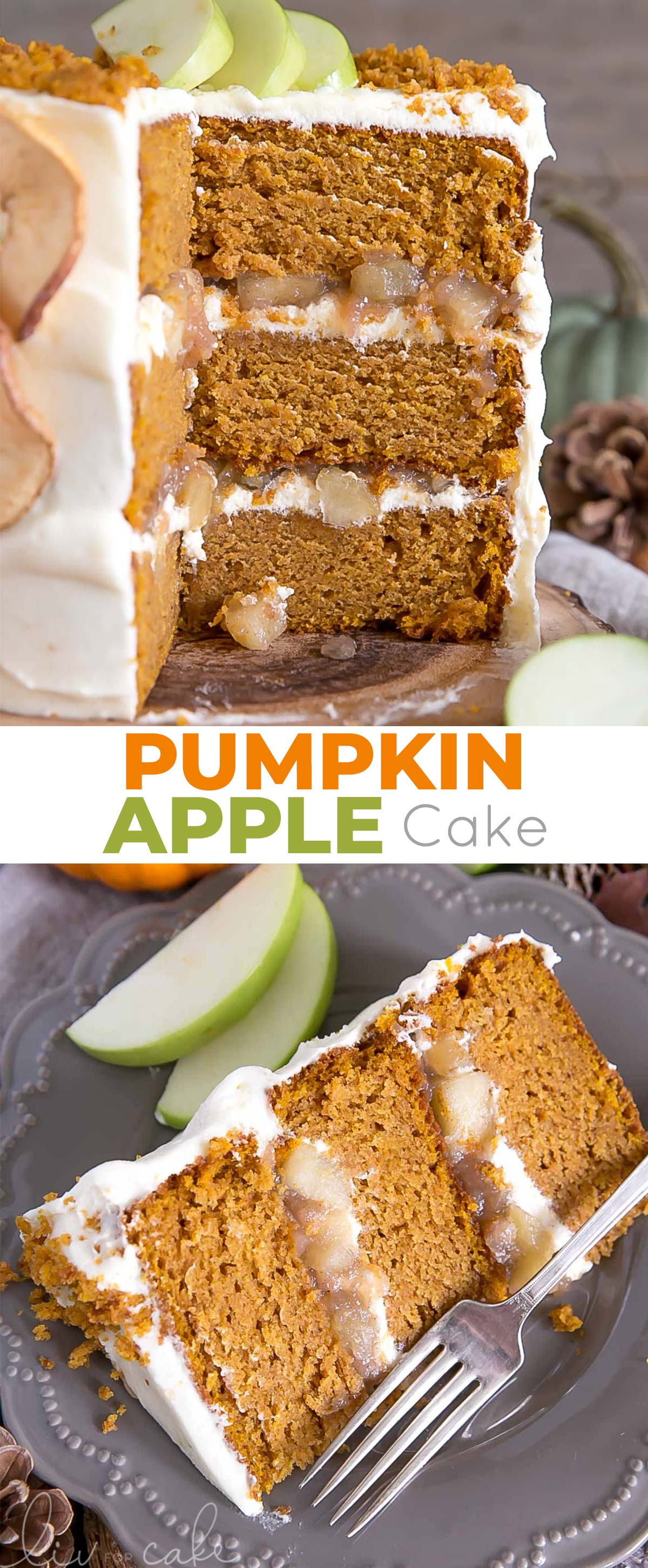 Pumpkin apple cake photo collage