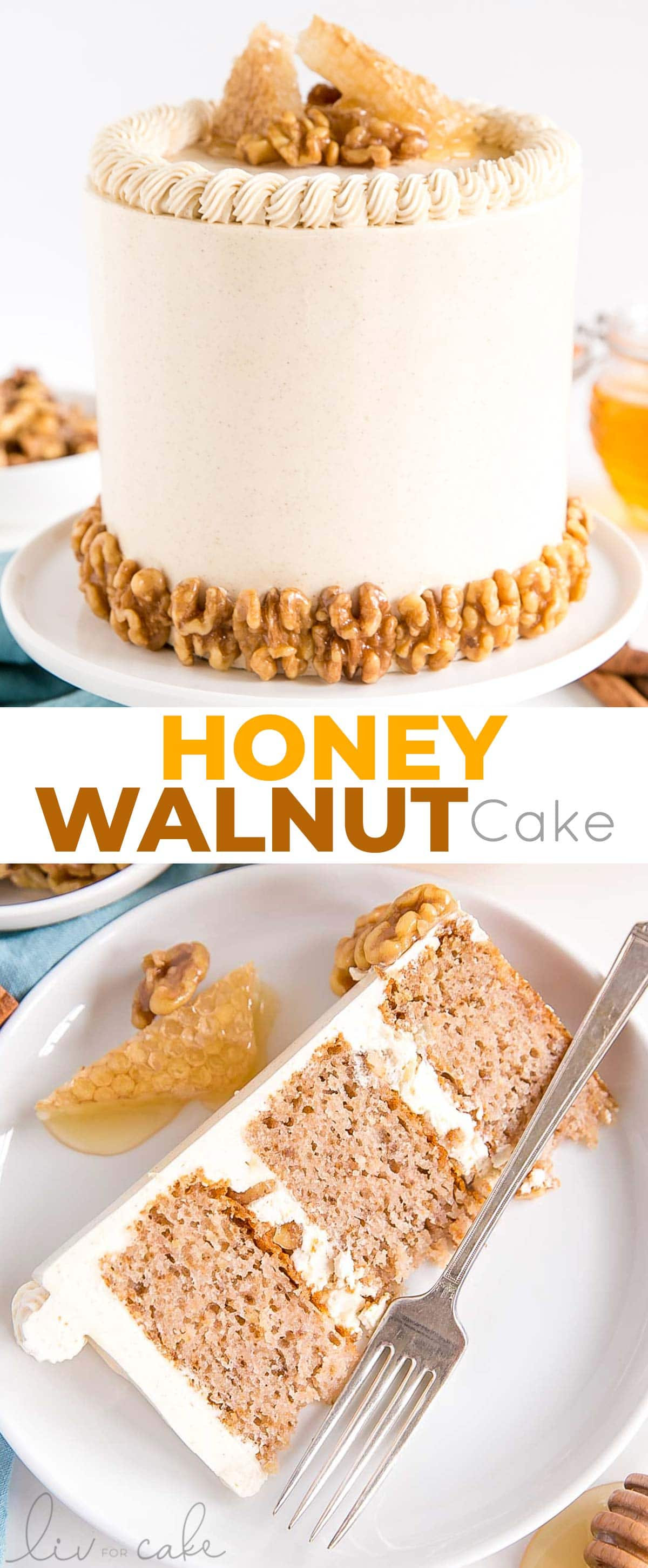 honey walnut cake photo collage