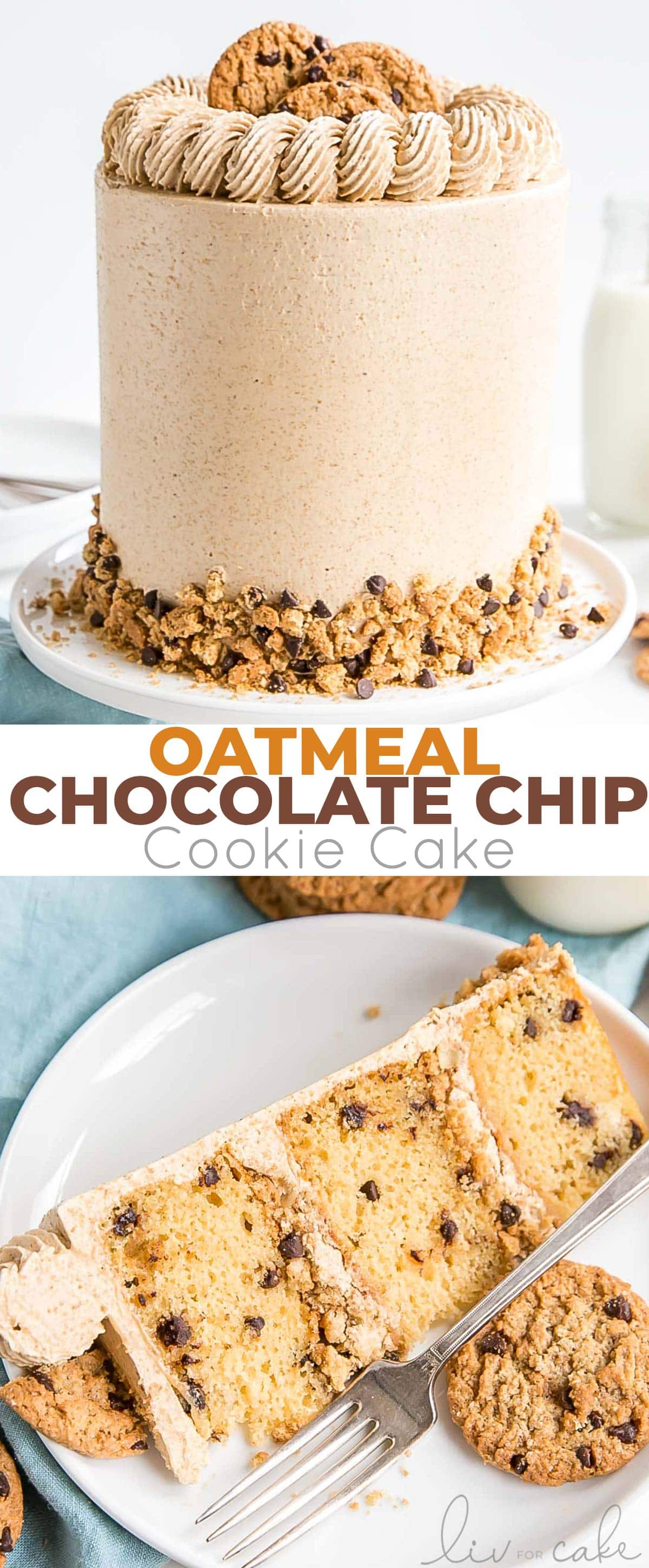 Oatmeal cookie cake photo collage.