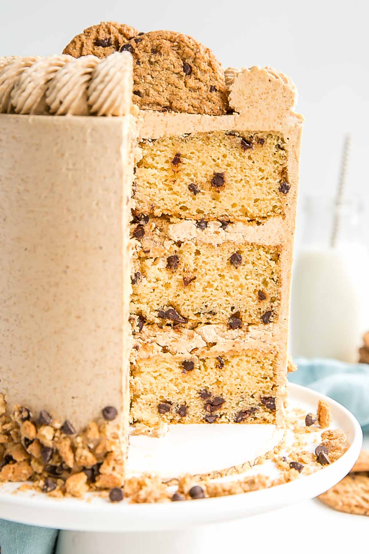 Cross-section of the cake showing the chocolate chip studded cake layers.