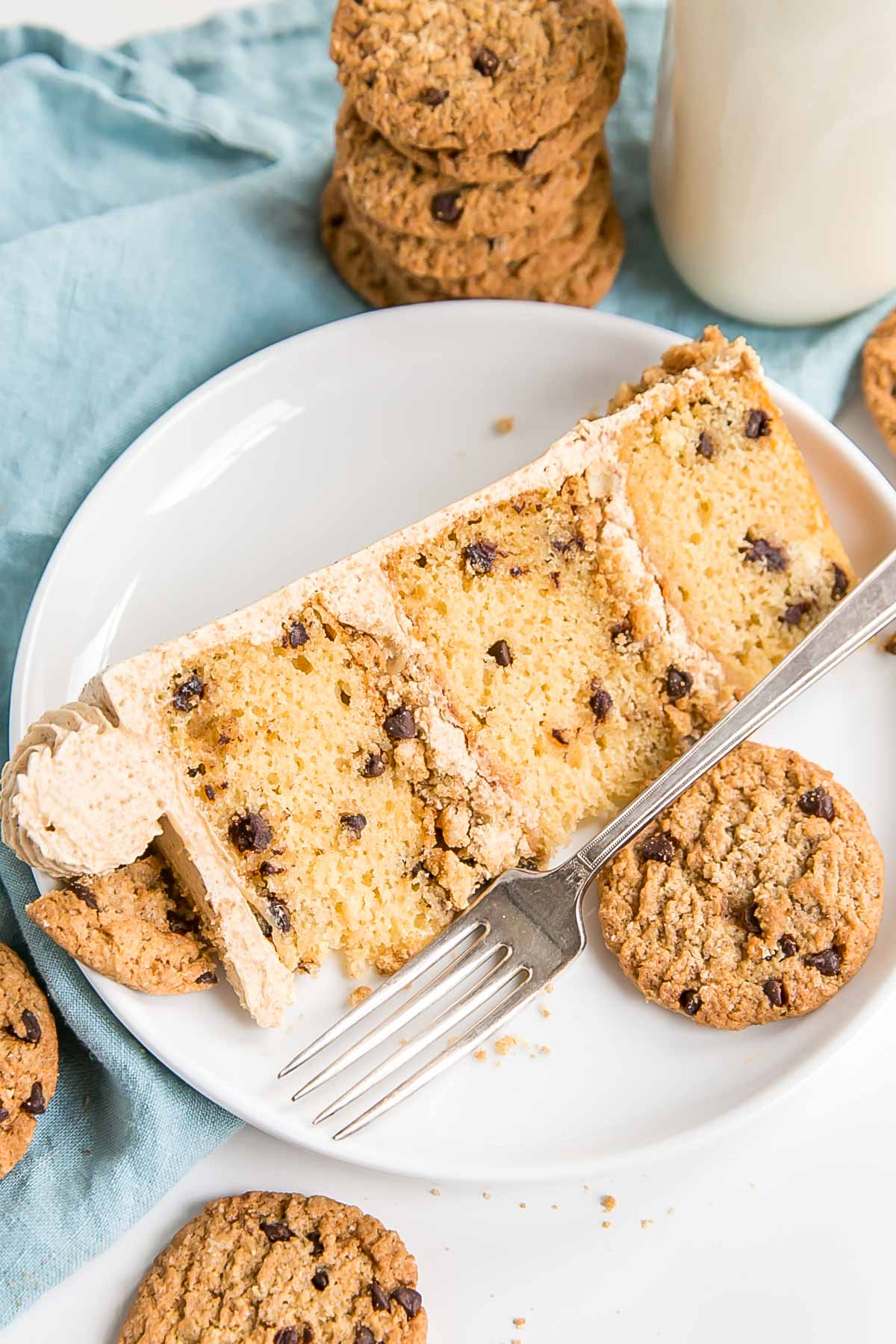 Slice of oatmeal cookie cake on a plate.