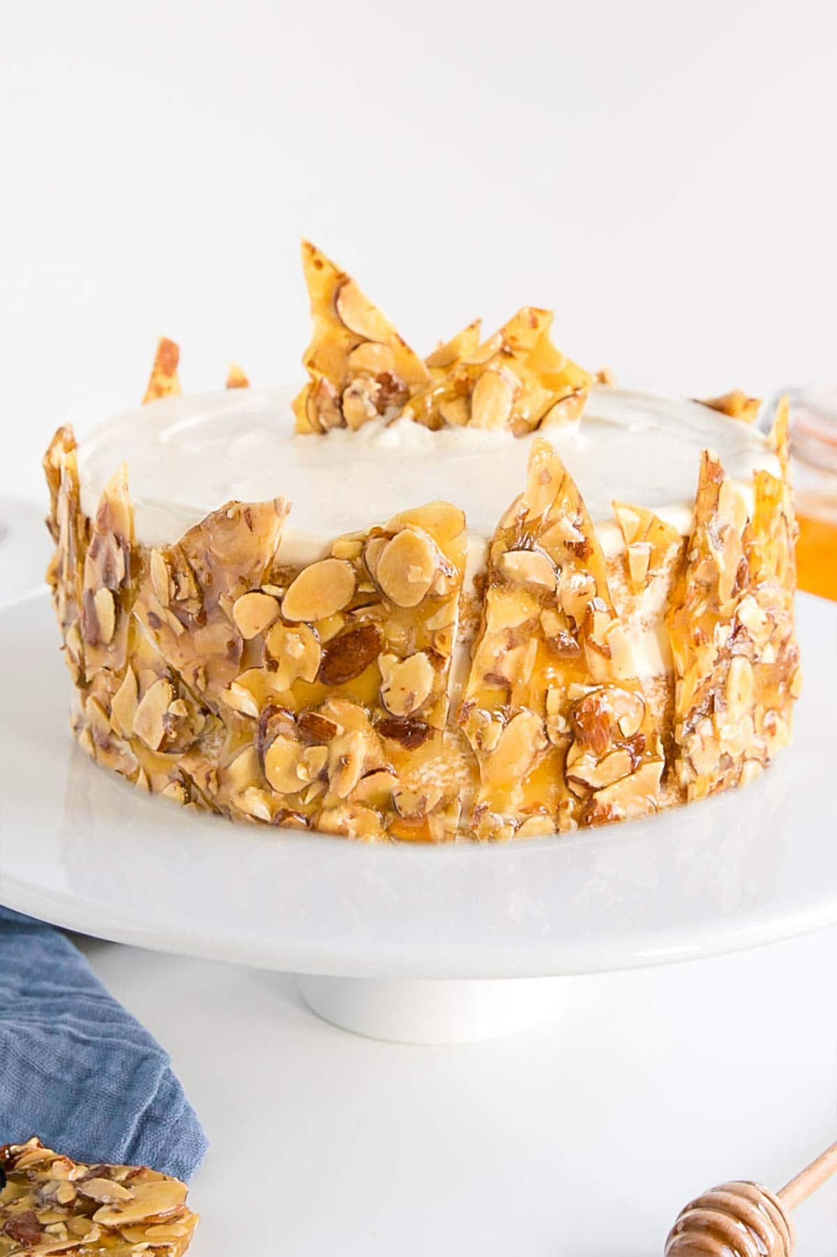 Close up of the praline on the side of the bee sting cake.