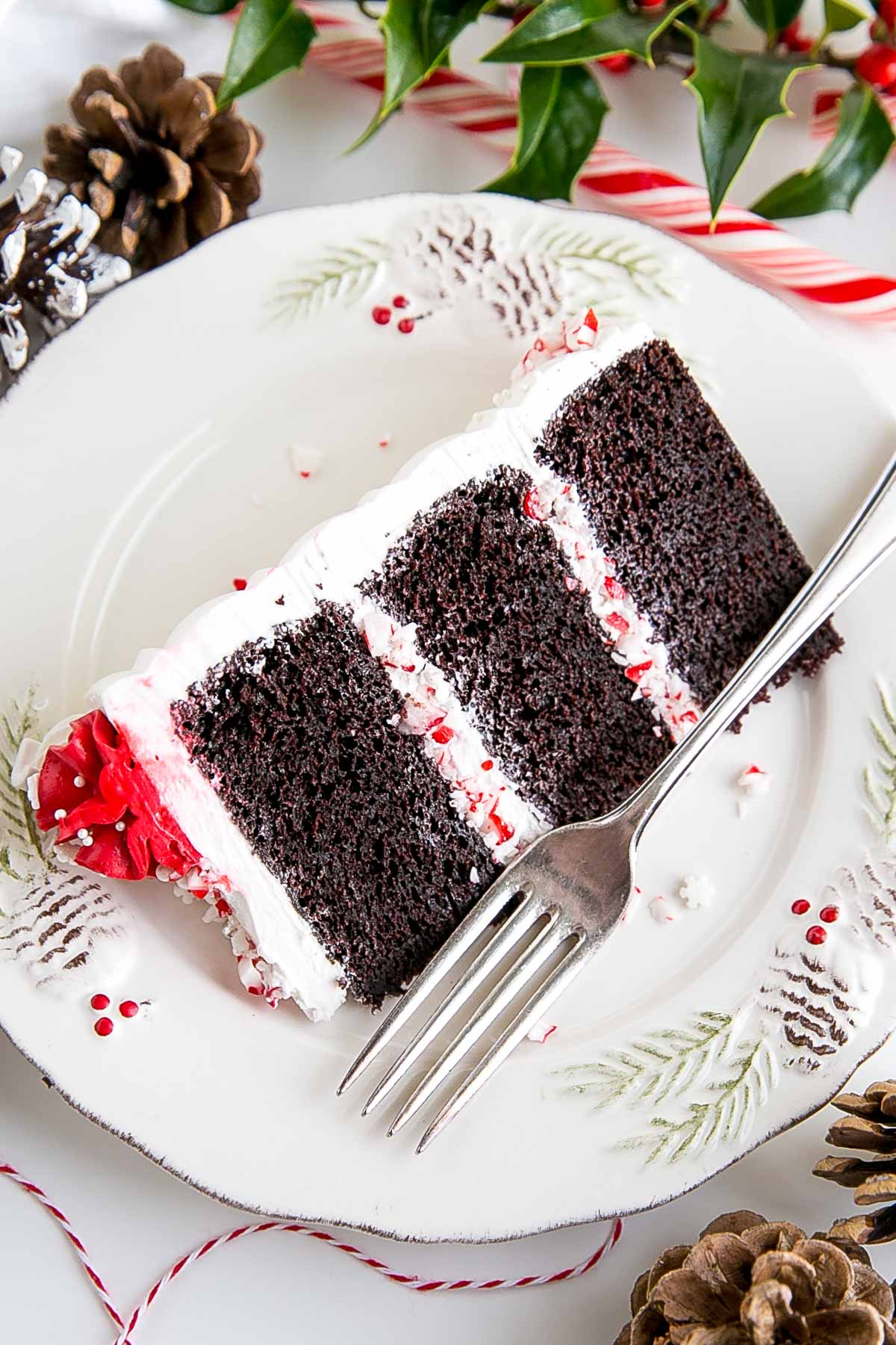 Slice of chocolate peppermint cake on a plate.