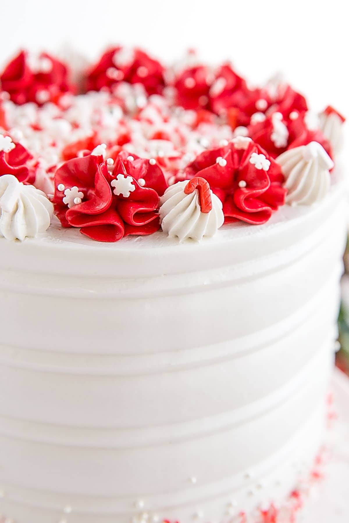 Close up of the red dollops on top of the cake.